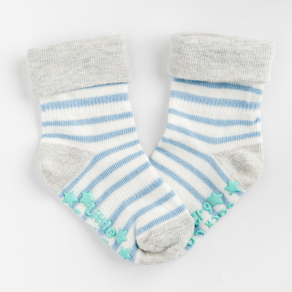 Non-Slip Stay On Socks - 7 Pack in Light Blues with Oatmeal and Grey