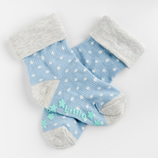 Non-Slip Stay On Socks - 3 Pack in Light Blues with Oatmeal