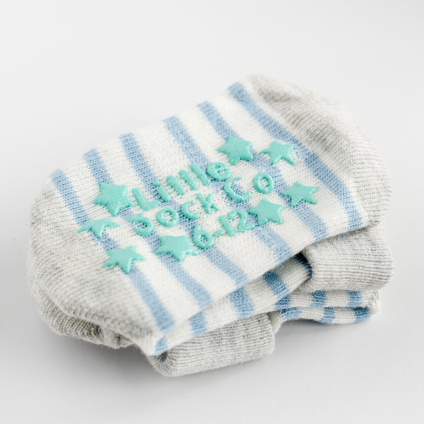 Non-Slip Stay On Socks in Light Blue and White Stripe