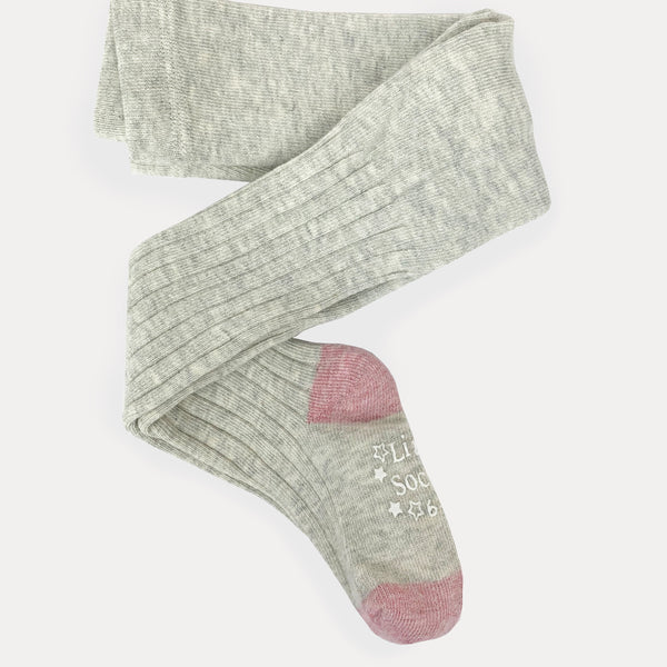 Non-Slip Super Soft Ribbed Tights - 2 Pack in Grey Marl & Dusty Pink