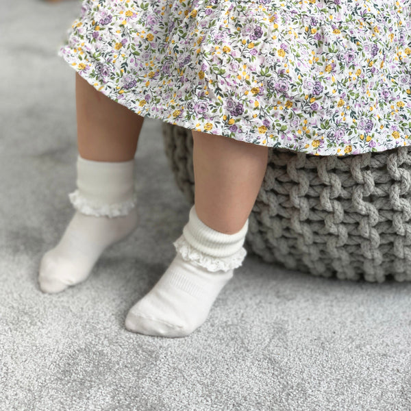 Non-Slip Stay-on Frilly Socks - 5 Pack in Peaches 'n' Cream, Lemon Drop and Snow White