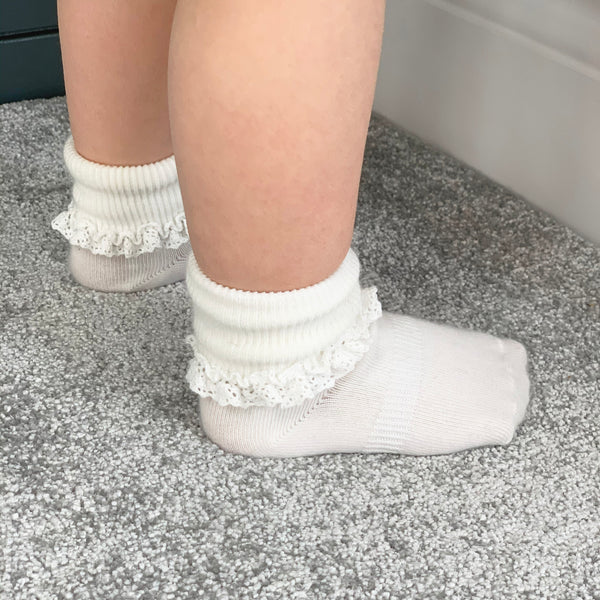 Non-Slip Stay-On Frilly Socks - 3 Pack in Snow White