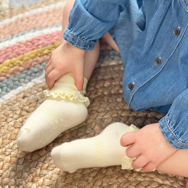 Non-Slip Stay-On Frilly Socks - 3 Pack in Peaches 'n' Cream, Lemon Drop and Snow White