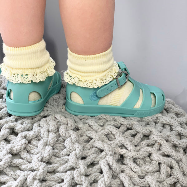 Non-Slip Stay-On Frilly Socks - Lemon Drop