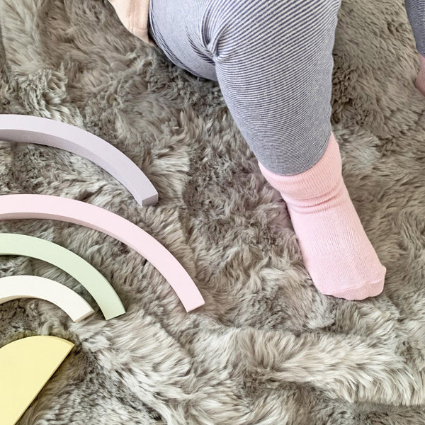 Non-Slip Stay on Socks - 5 Pack in Soft Pink & White