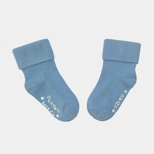 Non-Slip Stay on Cotton Softies - 3 Pack in Ocean Blue & Grey Sky