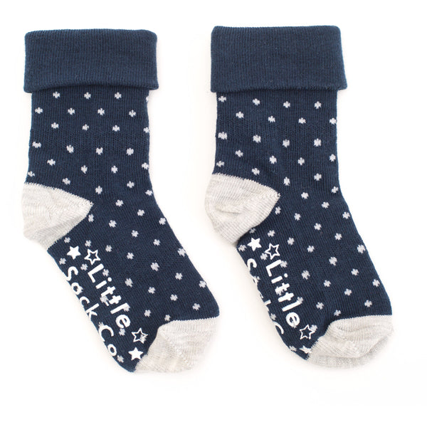 Non-Slip Stay on Socks - Unisex 3 Pack in Navy & Grey