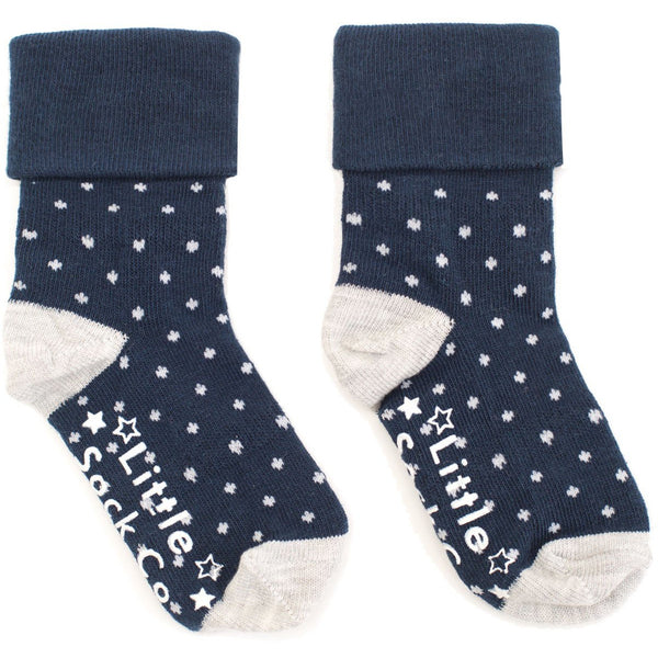 Non-Slip Stay on Socks - Unisex 5 Pack in Navy & Grey