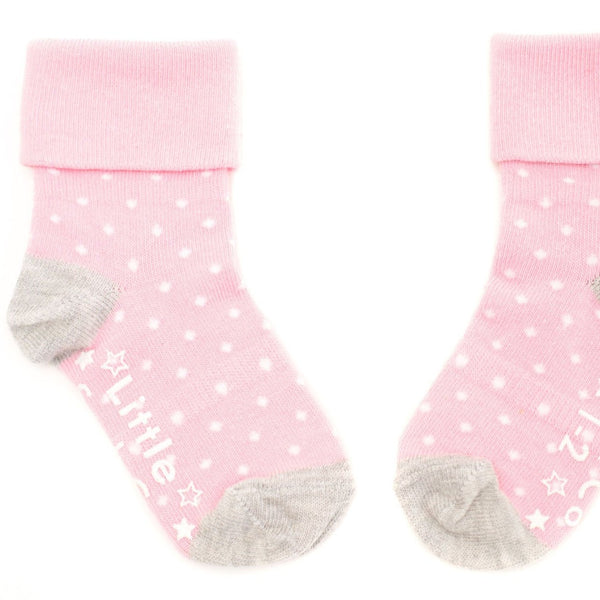 Non-Slip Stay on Socks - 3 Pack in Soft Pink & White