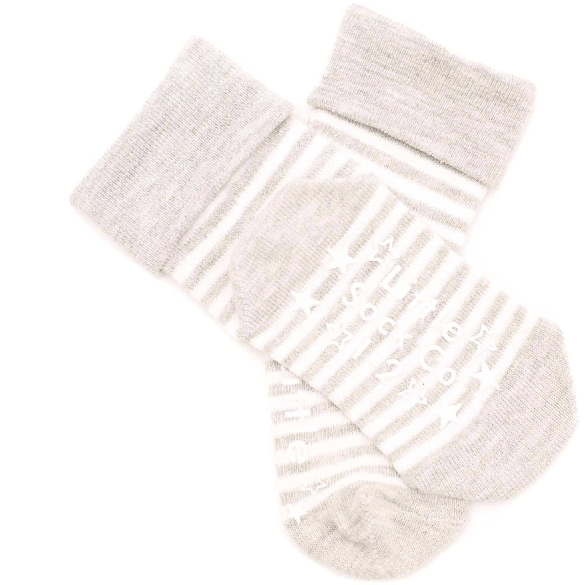 Signature Grey Marl roll top Stay on Socks