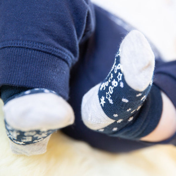 Navy roll top Stay on Socks