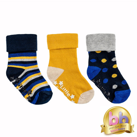 Non-Slip Stay On Socks - 3 Pack in Shades of Blue and Mustard