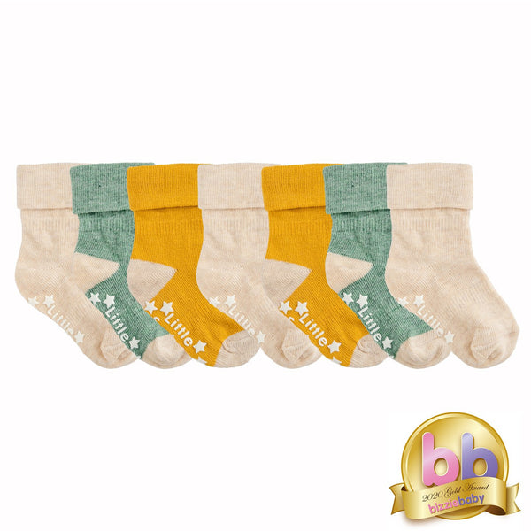 Non-Slip Stay On Socks - 7 Pack in Mustard, Oatmeal and Forest Green