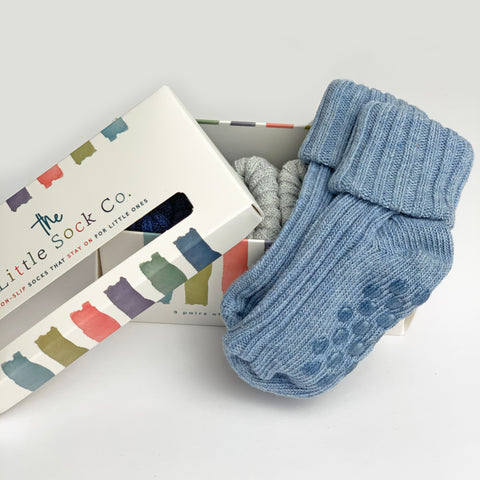 3 Pack Gift Boxed Non-Slip Stay on Cotton Ribbies in Baby Blue, Cloud and Navy