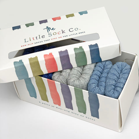 Gift Boxed Non-Slip Stay on Cotton Ribbies in Baby Blue, Cloud and Navy