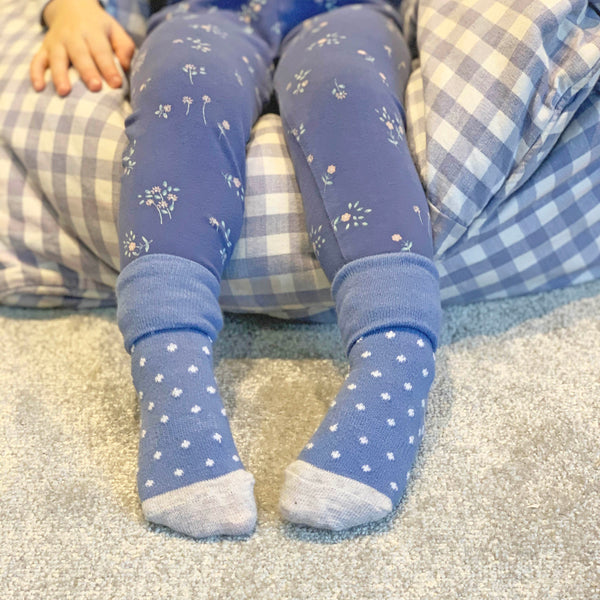Non-Slip Stay On Socks - 3 Pack in Cornflower dot, White and Fairy Tale