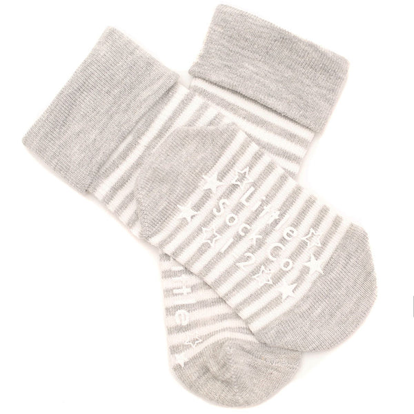 Non-Slip Stay on Socks - 3 Pack in Blue & Grey