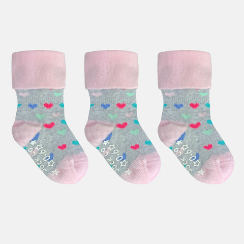 Non-Slip Stay on Socks - Pink Heart 3 Pack - OUTLET
