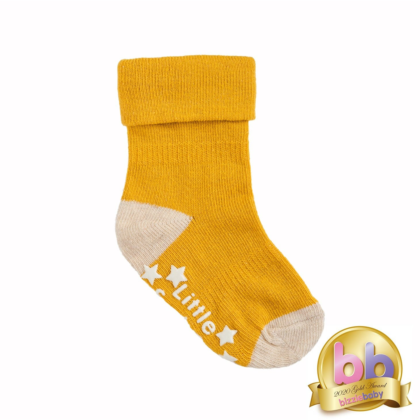 Non-Slip Stay On Socks in Mustard with Oatmeal