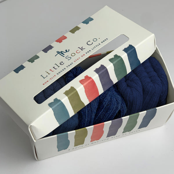 Gift Boxed Non-Slip Stay on Cotton Ribbies - in Navy