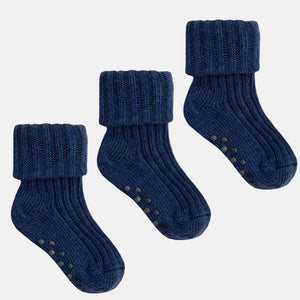 Non-Slip Stay on Cotton Ribbies - 3 pairs in Navy