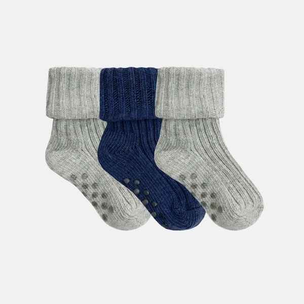 Gift Boxed Non-Slip Stay on Cotton Ribbies Cloud and Navy