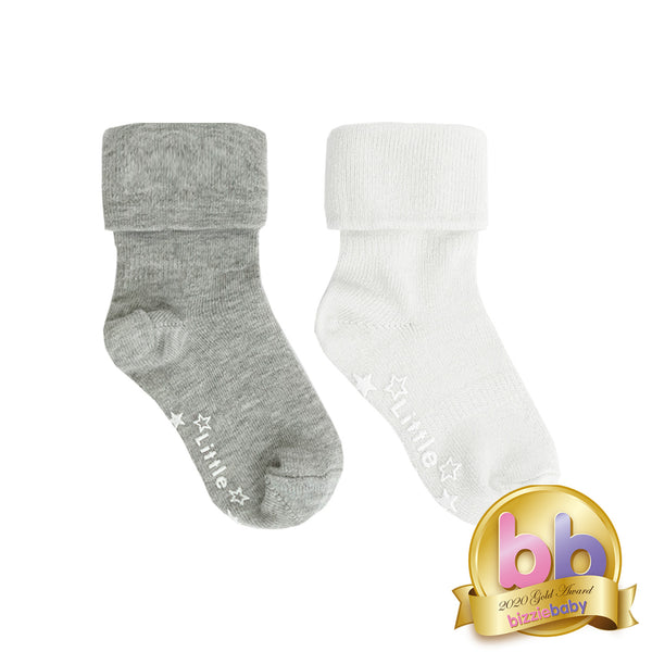Non-Slip Stay on Socks - 2 Pack in Neutral