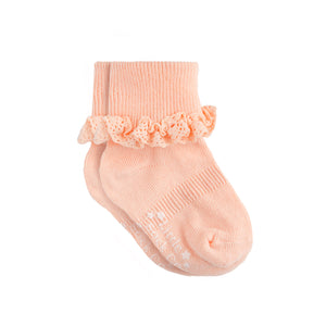 Non-Slip Stay-On Frilly Socks - Peaches 'n' Cream