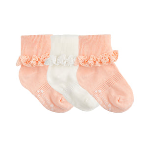 Non-Slip Stay-On Frilly Socks - 3 Pack in Peaches 'n' Cream and Snow White
