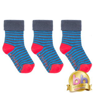 Non-Slip Stay on Socks - Blue Stripe with Red - 3 Pack 4-8mths - Outlet
