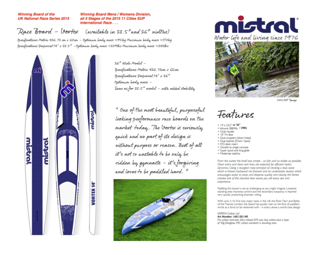 Mistral SUP page launched - Pre Orders now being taken