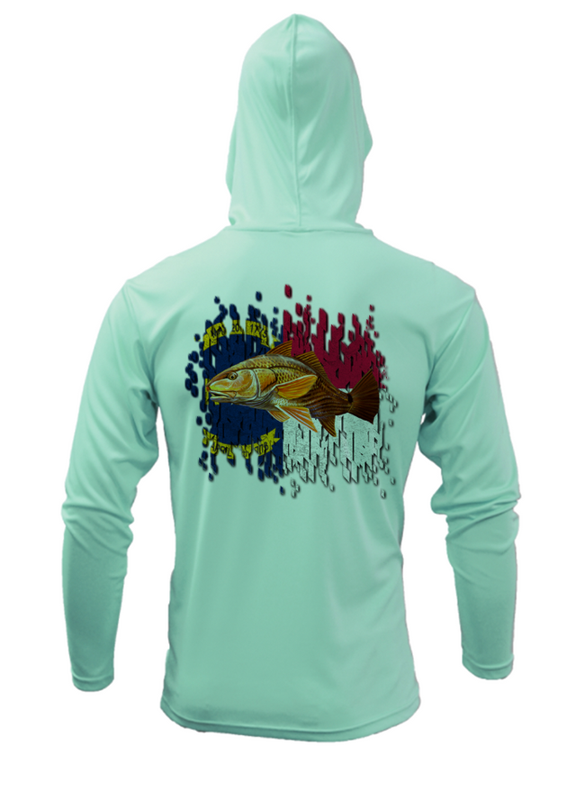 Treway Outdoors Redfish NC Flag Performance Hooded Long Sleeve