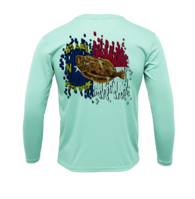 Treway Outdoors Flounder NC Flag Performance Long Sleeve
