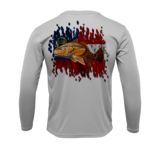 Treway Outdoors Redfish Georgia Flag Performance Long Sleeve