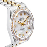 Rolex Datejust Twotone 36mm 18kt Yellow Gold/SS w/MOP Diamond Dial & Bezel - 16233