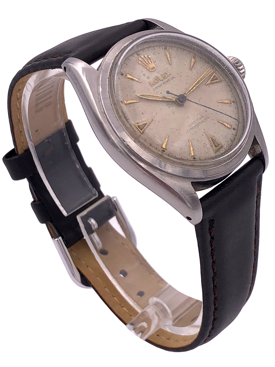 Vintage Rolex Oyster Date Stainless Steel w/Leather Strap – 6084