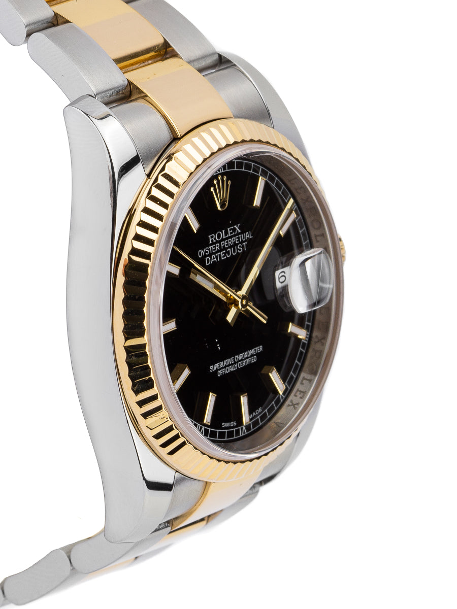 Rolex Datejust Two Tone 18kt YG/SS 36mm Black Dial – 116233