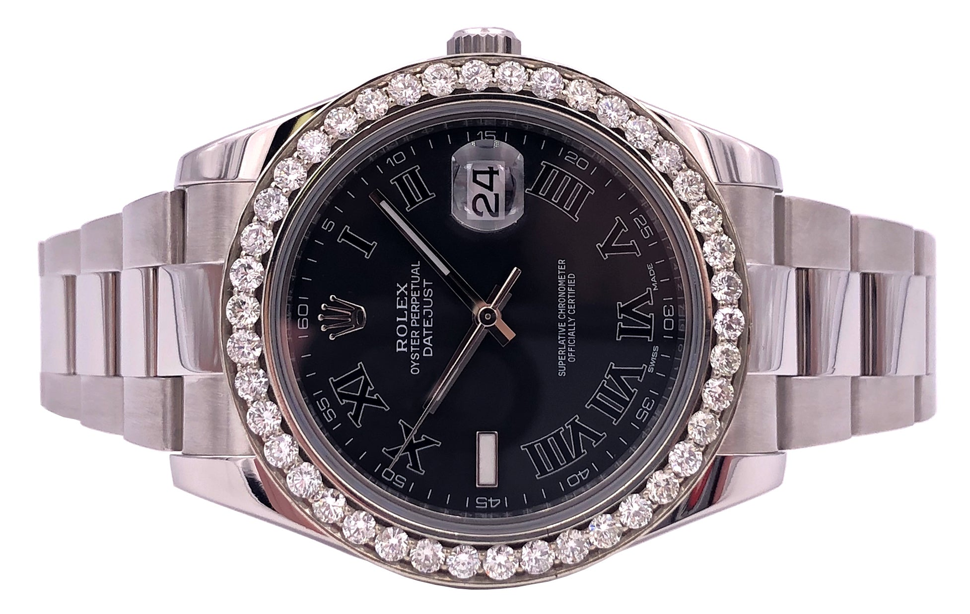 Rolex Datejust II with 4 CT Diamond Bezel Complete Black Dial - 116300