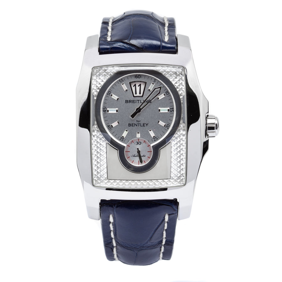 Breitling Bentley Flying B Jumping Hour Stainless Steel Case w/Blue Leather Strap - A28362
