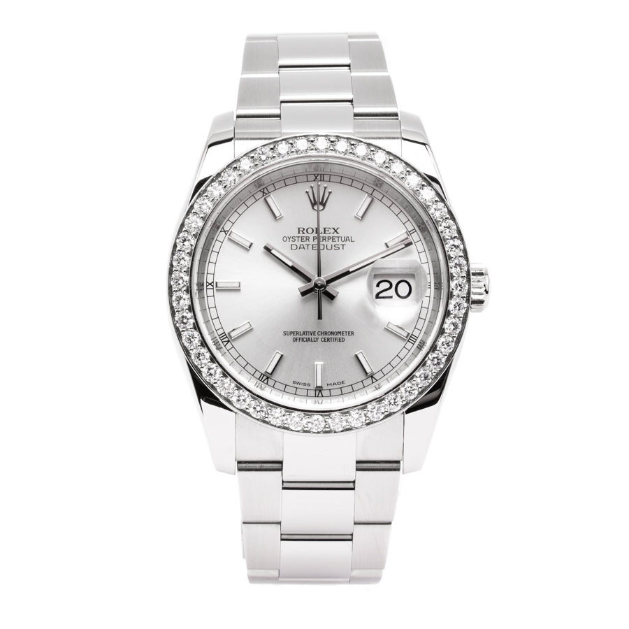 Rolex Datejust Stainless Steel Silver Dial w/ 3.0ct Diamond Bezel - 116234