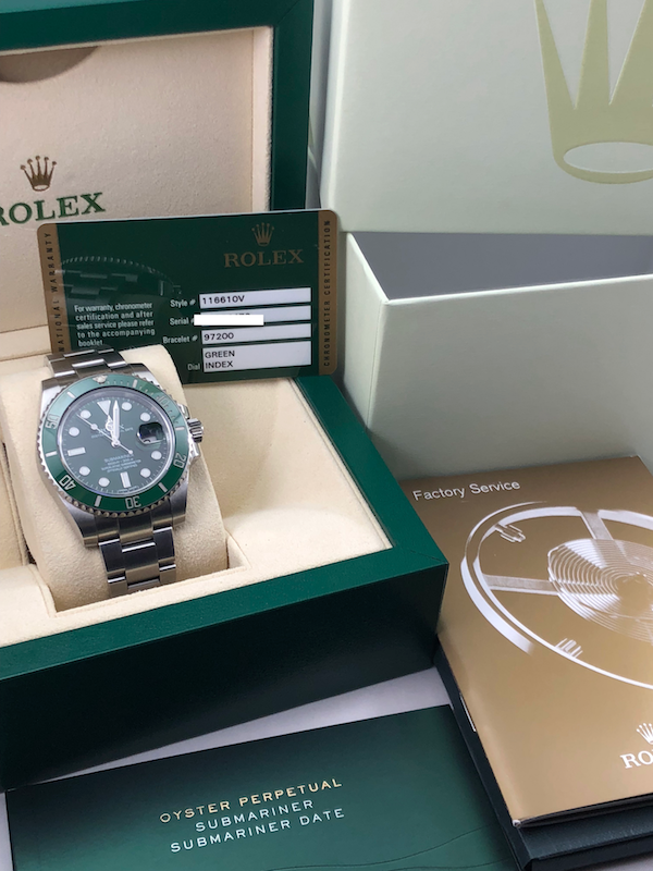 "Rolex Submariner ""HULK"" Stainless Steel Green Dial/Bezel – 116610LV"