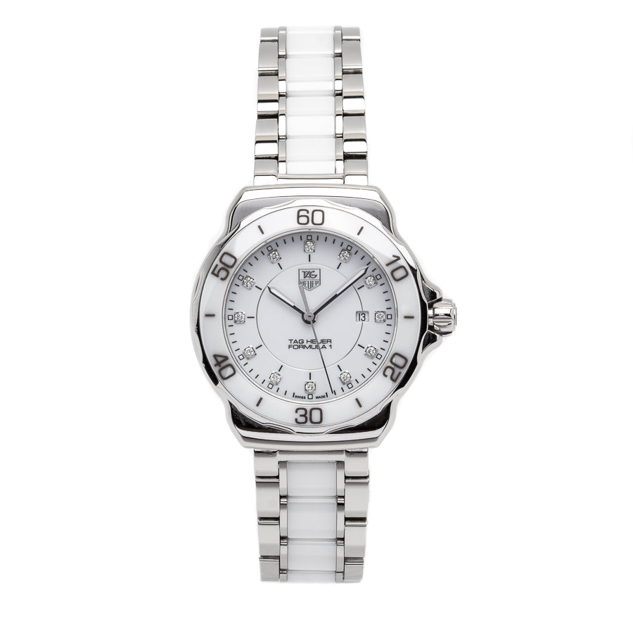 TAG Heuer Formula 1 Lady White Ceramic w/Diamond Hour Markers - WAH1315