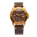 "Vintage Rolex GMT-Master ""Rootbeer"" 18kt Yellow Gold w/Brown Leather Strap - 1675/8"