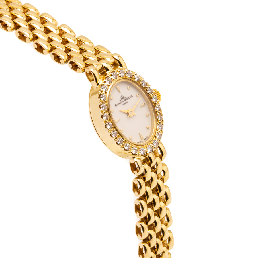 Baume & Mercier Ladies Geneve 14kt Yellow Gold & .50ct Diamond Bezel - MX000M1J