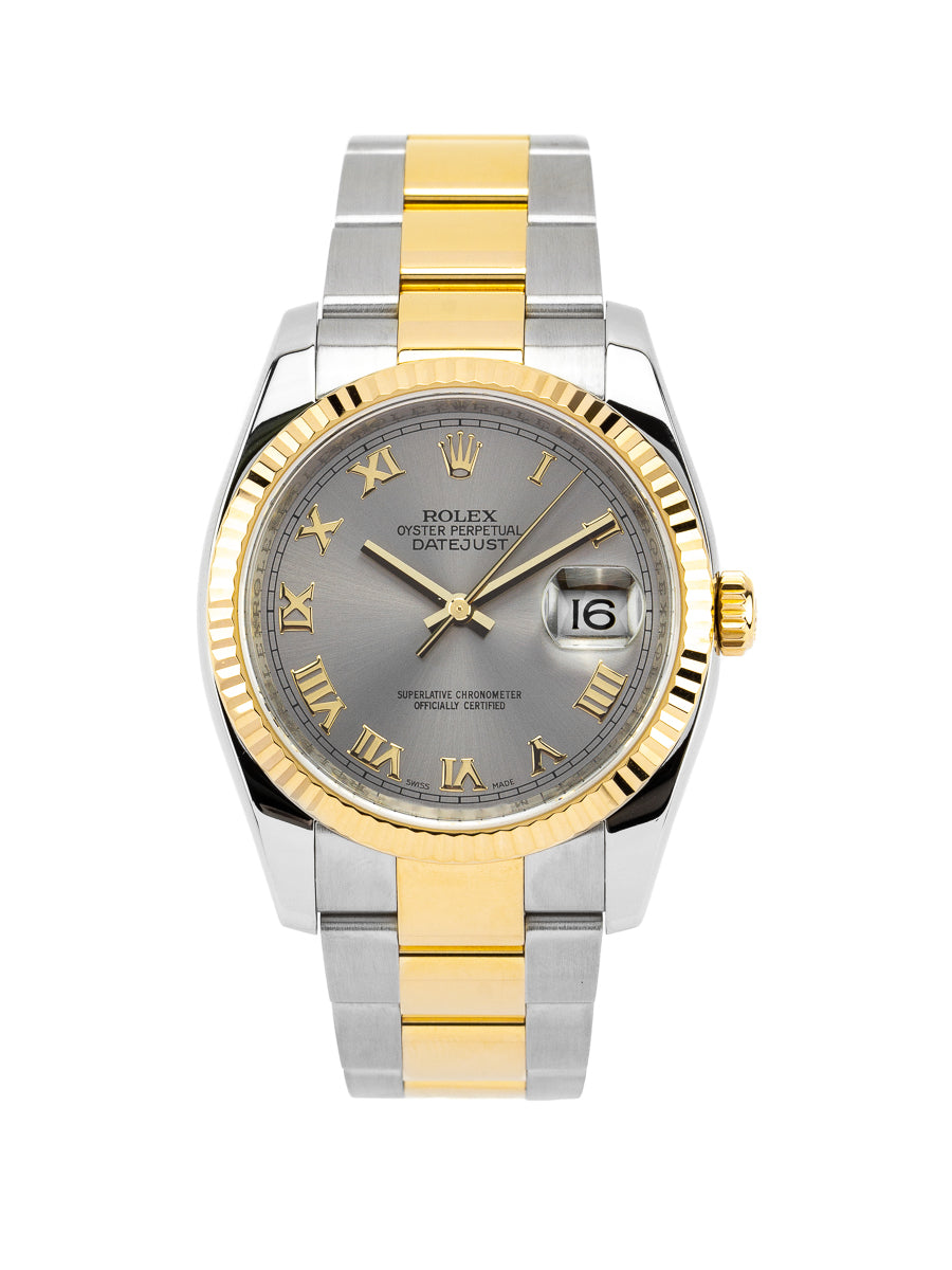 Rolex Datejust two-tone 18kt YG/SS w/Gold Roman Slate Dial - 116233