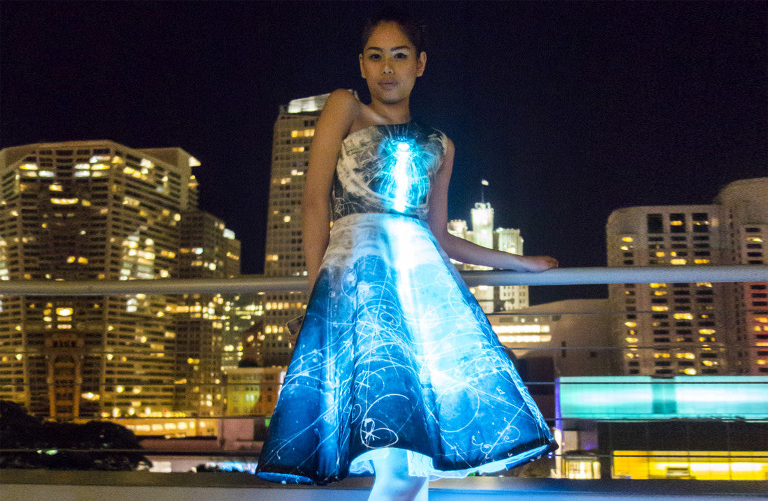 Interactive Particle Physics Dress with LED and IBM BlueMix