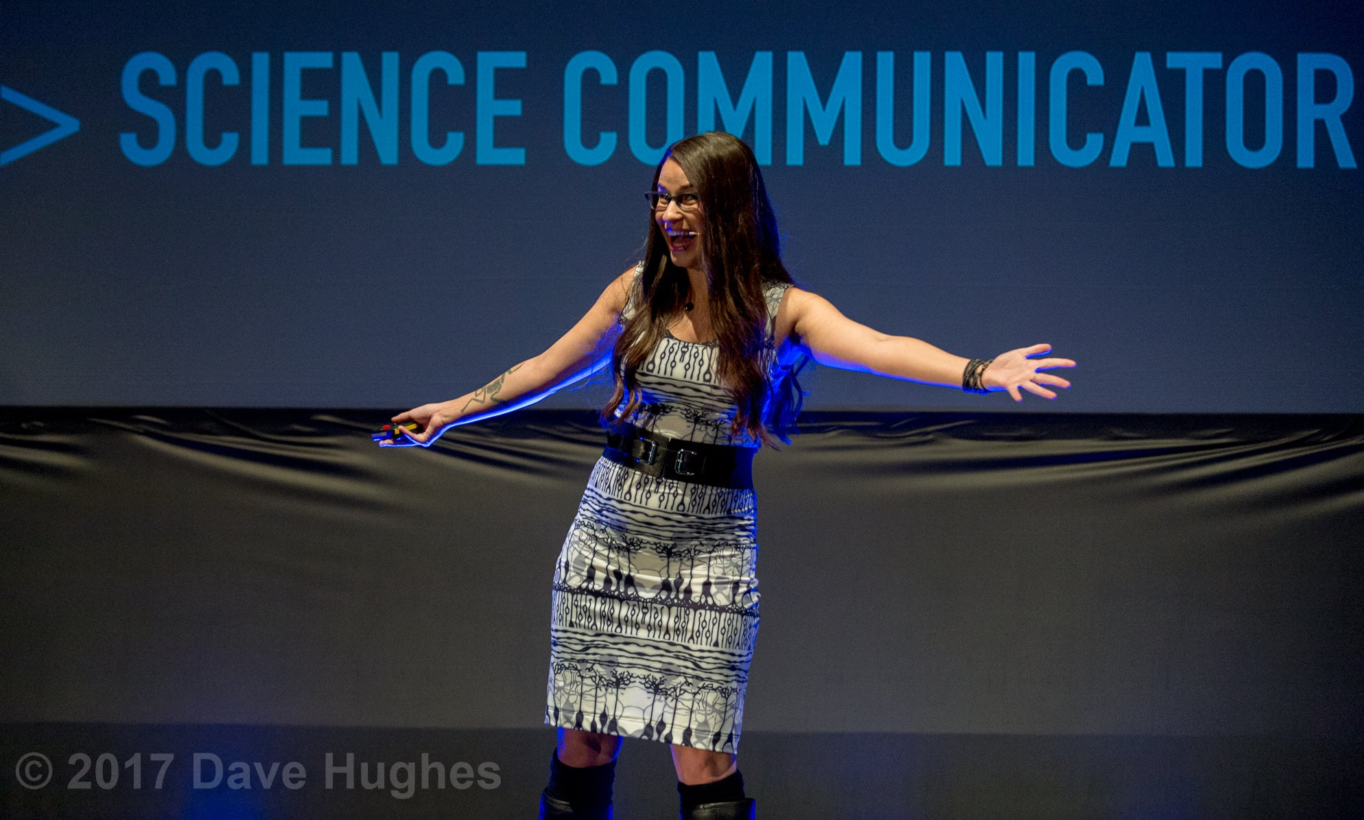 Cara Santa Maria wearing Neuroscience Retina Dress