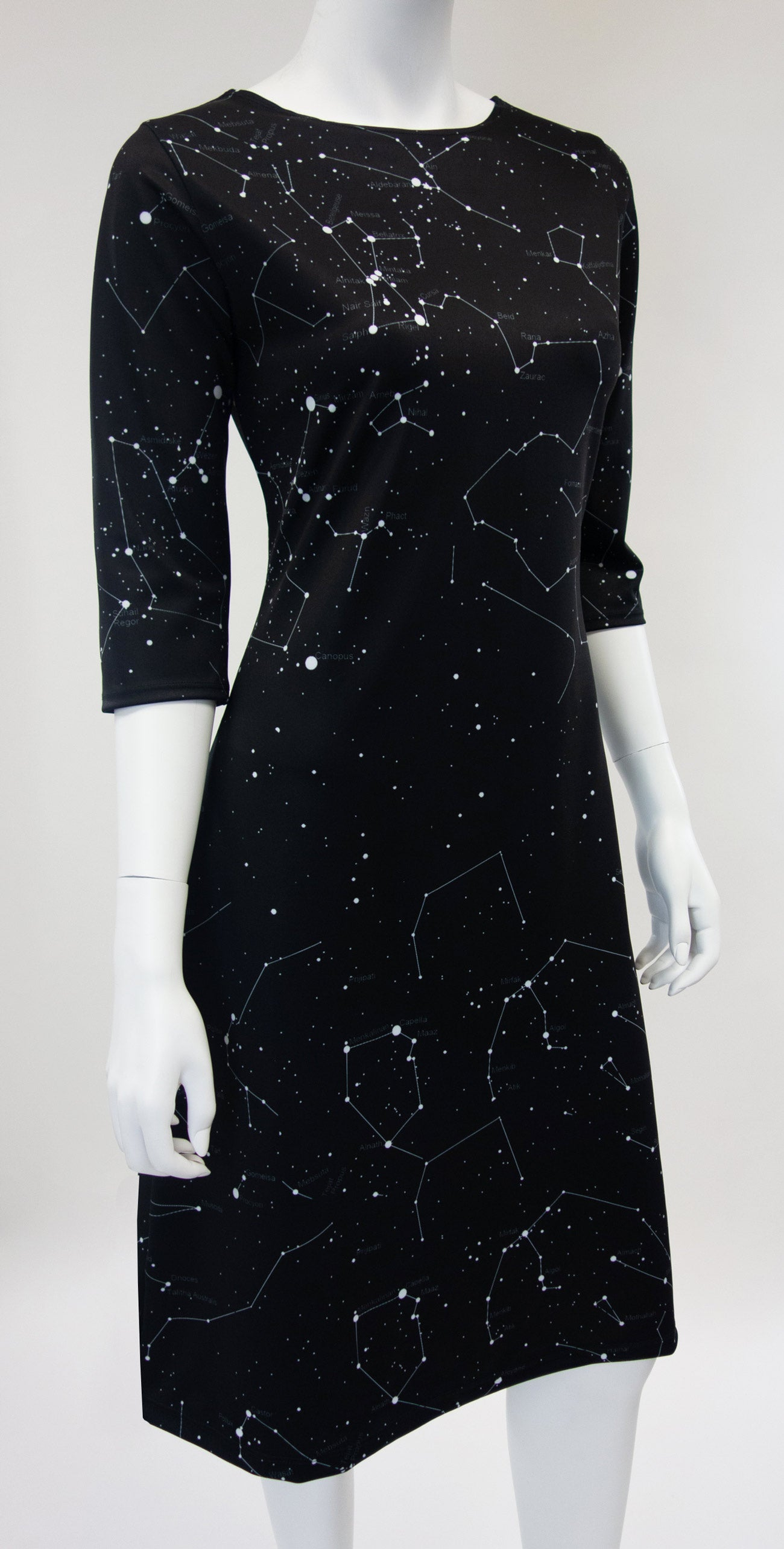 Black Constellation Star Print Dress FRONT