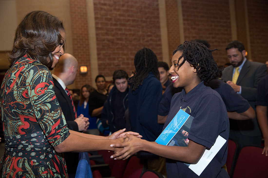 Michelle Obama with students
