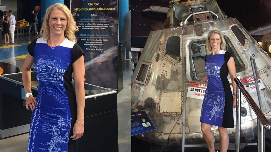 Apollo9 Rocket Scientist Blueprint Dress Michelle Lucas